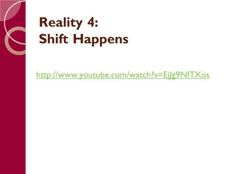 Reality 4: Shift Happens http://www.youtube.com/watch?v=EjJg9NfTXos