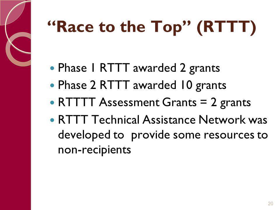 """""""Race to the Top"""" (RTTT) Phase 1 RTTT awarded 2 grants Phase 2 RTTT awarded 10 grants RTTTT Assessment Grants = 2 grants RTTT Technical Assistance Net"""