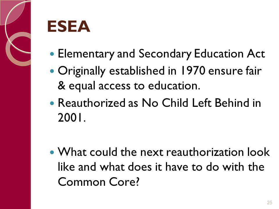 ESEA Elementary and Secondary Education Act Originally established in 1970 ensure fair & equal access to education. Reauthorized as No Child Left Behi