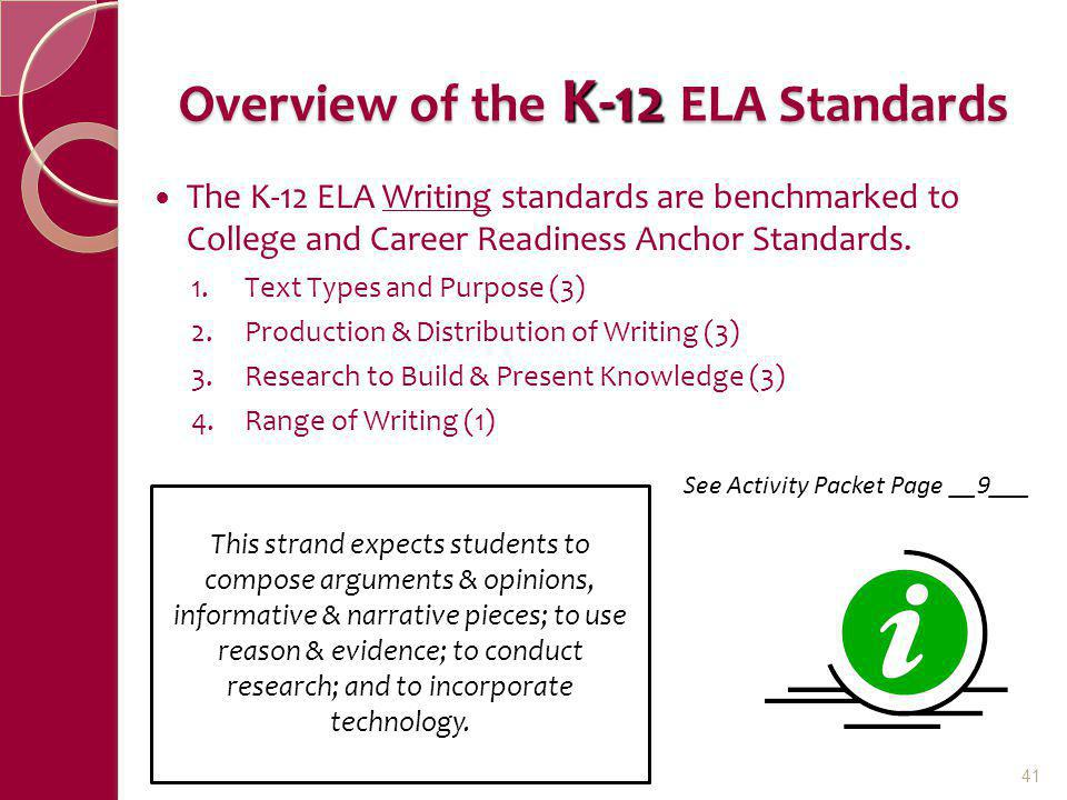 Overview of the K-12 ELA Standards The K-12 ELA Writing standards are benchmarked to College and Career Readiness Anchor Standards. 1.Text Types and P