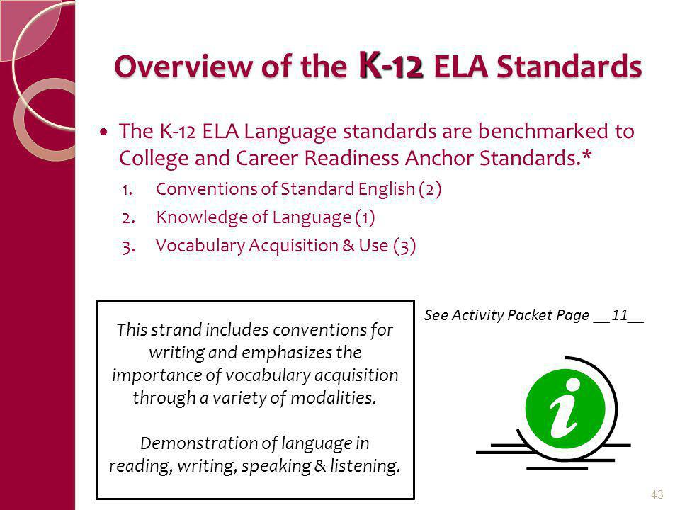 Overview of the K-12 ELA Standards The K-12 ELA Language standards are benchmarked to College and Career Readiness Anchor Standards.* 1.Conventions of