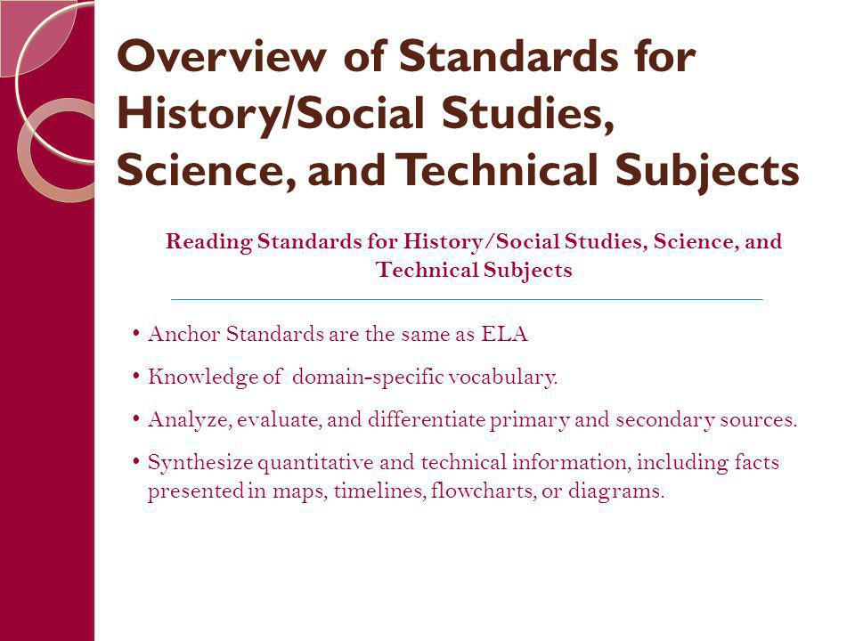 Overview of Standards for History/Social Studies, Science, and Technical Subjects Reading Standards for History/Social Studies, Science, and Technical