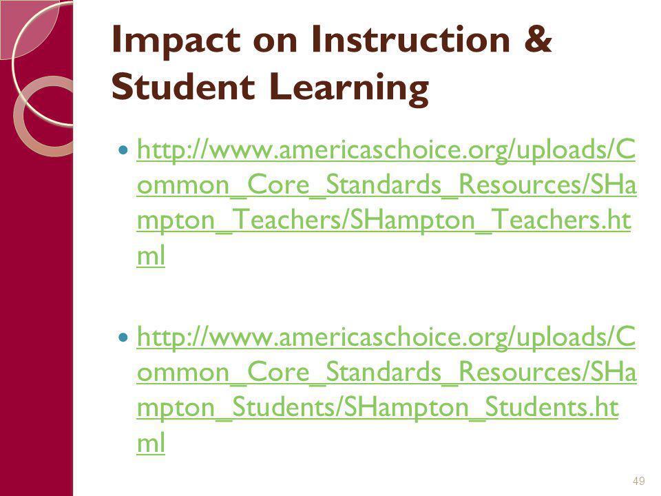 Impact on Instruction & Student Learning http://www.americaschoice.org/uploads/C ommon_Core_Standards_Resources/SHa mpton_Teachers/SHampton_Teachers.h