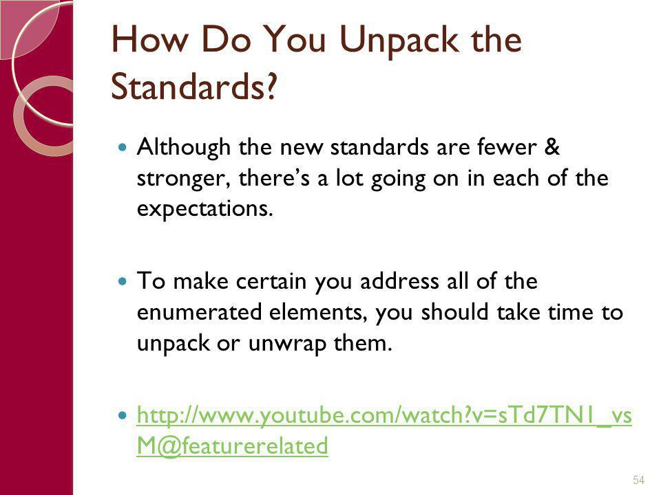How Do You Unpack the Standards? Although the new standards are fewer & stronger, there's a lot going on in each of the expectations. To make certain
