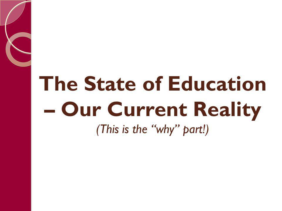 Reality 1: A Shift in Education Compulsory Attendance Compulsory Learning