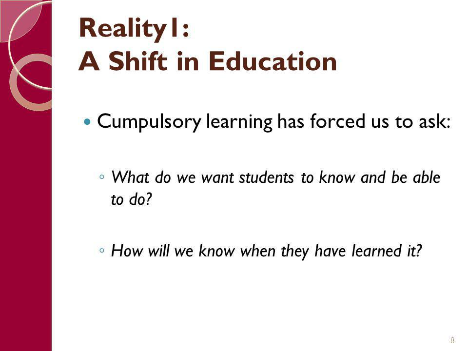 Reality1: A Shift in Education Cumpulsory learning has forced us to ask: ◦ What do we want students to know and be able to do? ◦ How will we know when