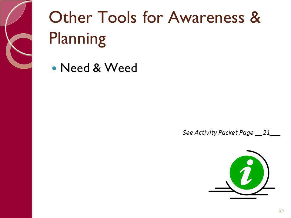 Other Tools for Awareness & Planning Need & Weed 82 See Activity Packet Page __21___
