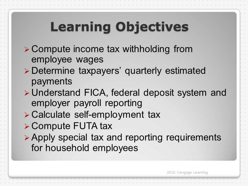 Learning Objectives  Compute income tax withholding from employee wages  Determine taxpayers' quarterly estimated payments  Understand FICA, federal deposit system and employer payroll reporting  Calculate self-employment tax  Compute FUTA tax  Apply special tax and reporting requirements for household employees 2012 Cengage Learning