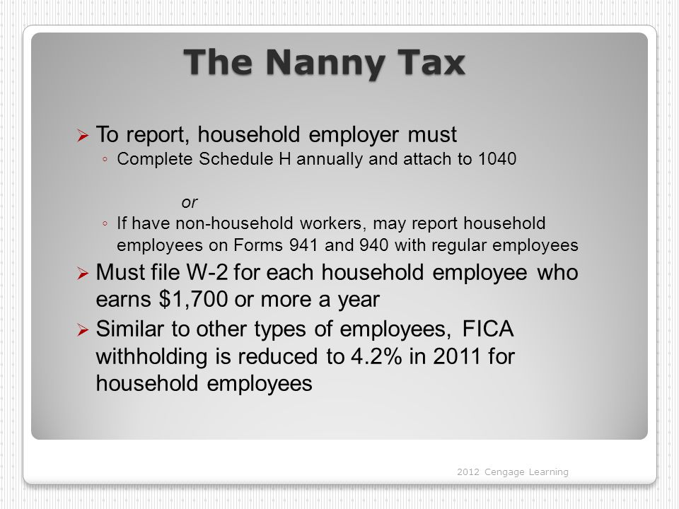 The Nanny Tax  To report, household employer must ◦ Complete Schedule H annually and attach to 1040 or ◦ If have non-household workers, may report household employees on Forms 941 and 940 with regular employees  Must file W-2 for each household employee who earns $1,700 or more a year  Similar to other types of employees, FICA withholding is reduced to 4.2% in 2011 for household employees 2012 Cengage Learning