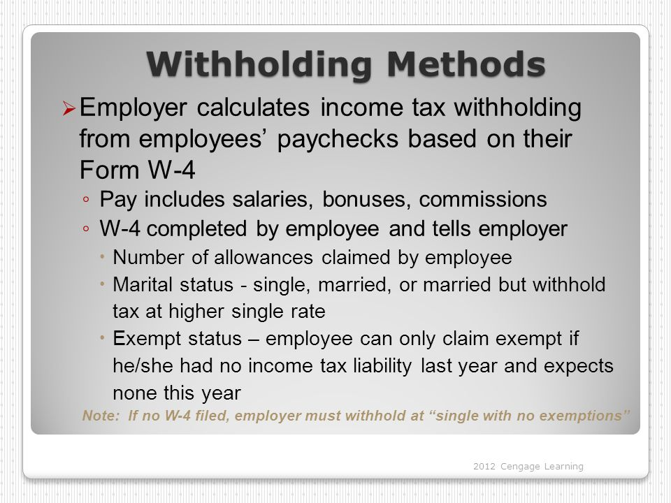 Special Withholding Allowances  Employee does not need to prove to employer that number of allowances is valid  Single employee with one job may claim one special allowance  Married employee may claim one special allowance in certain situations  Married employee with more than one job or working spouse must complete W-4 Page 2 Two Earners/Multiple Jobs Worksheet to calculate number of allowances 2012 Cengage Learning