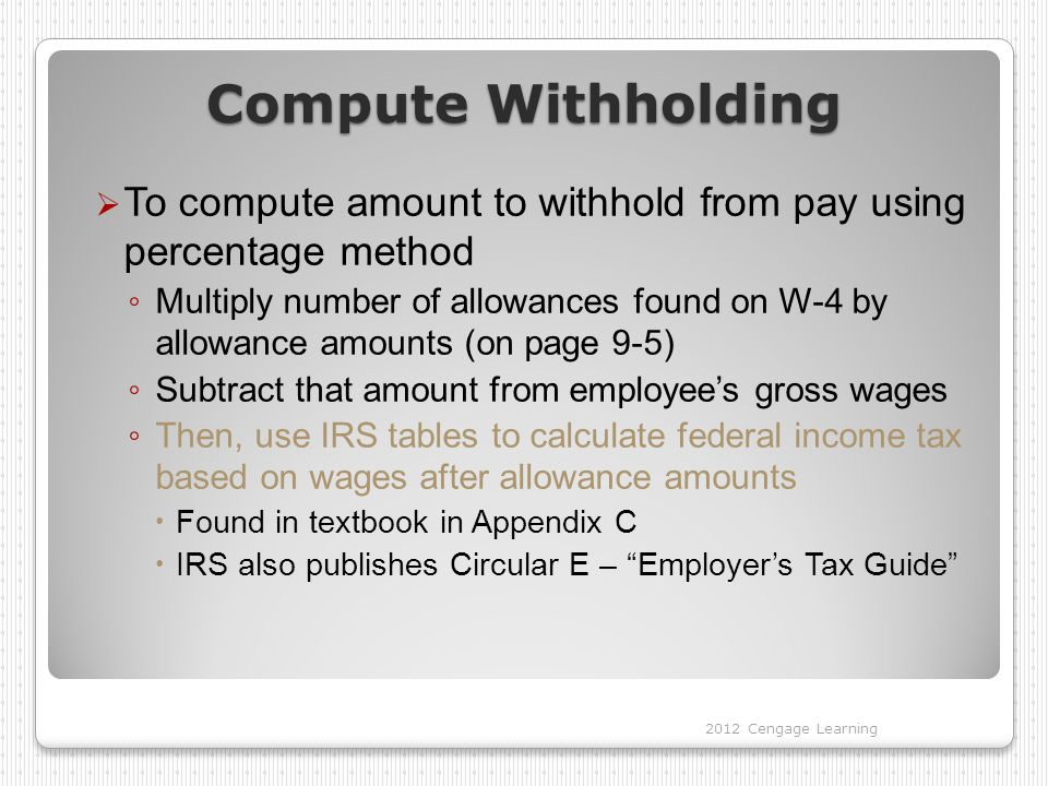 Compute Withholding  To compute amount to withhold from pay using percentage method ◦ Multiply number of allowances found on W-4 by allowance amounts (on page 9-5) ◦ Subtract that amount from employee's gross wages ◦ Then, use IRS tables to calculate federal income tax based on wages after allowance amounts  Found in textbook in Appendix C  IRS also publishes Circular E – Employer's Tax Guide 2012 Cengage Learning