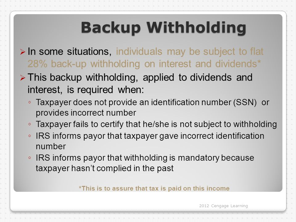 Backup Withholding  In some situations, individuals may be subject to flat 28% back-up withholding on interest and dividends*  This backup withholding, applied to dividends and interest, is required when: ◦ Taxpayer does not provide an identification number (SSN) or provides incorrect number ◦ Taxpayer fails to certify that he/she is not subject to withholding ◦ IRS informs payor that taxpayer gave incorrect identification number ◦ IRS informs payor that withholding is mandatory because taxpayer hasn't complied in the past *This is to assure that tax is paid on this income 2012 Cengage Learning