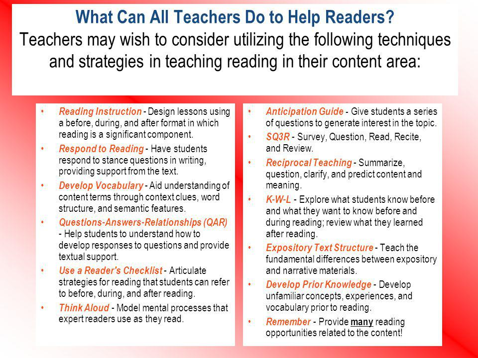 What Can All Teachers Do to Help Readers? Teachers may wish to consider utilizing the following techniques and strategies in teaching reading in their