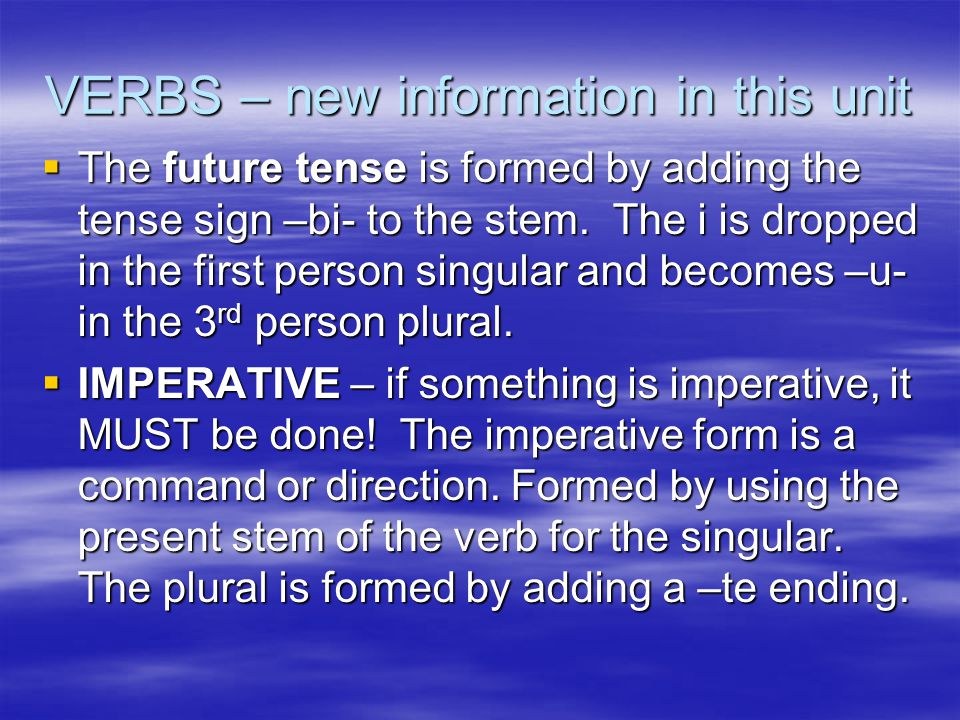 VERBS – new information in this unit  The future tense is formed by adding the tense sign –bi- to the stem.