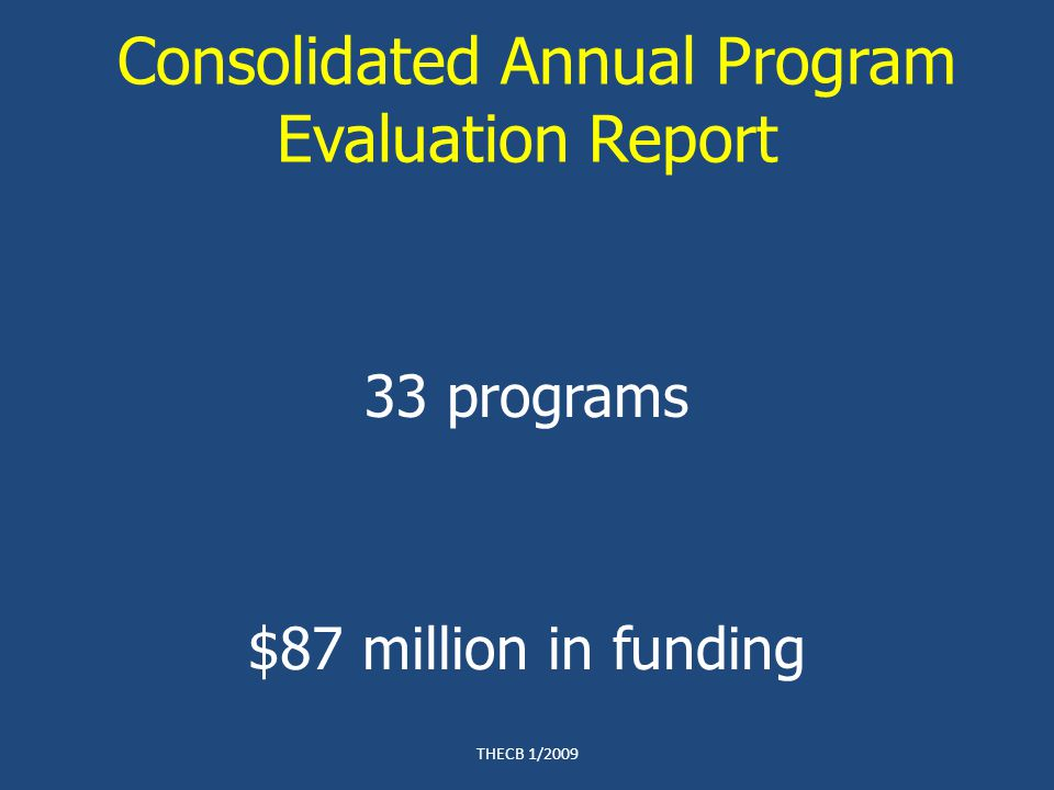 Consolidated Annual Program Evaluation Report 33 programs $87 million in funding THECB 1/2009