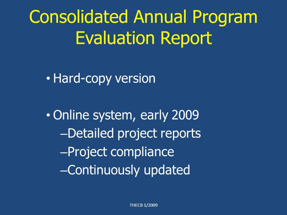 Consolidated Annual Program Evaluation Report Hard-copy version Online system, early 2009 – Detailed project reports – Project compliance – Continuously updated THECB 1/2009