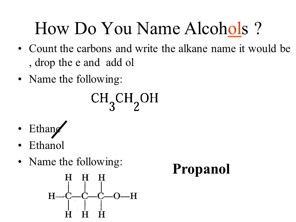 How Do You Name Alcohols ? Count the carbons and write the alkane name it would be, drop the e and add ol Name the following: Ethane Ethanol Name the