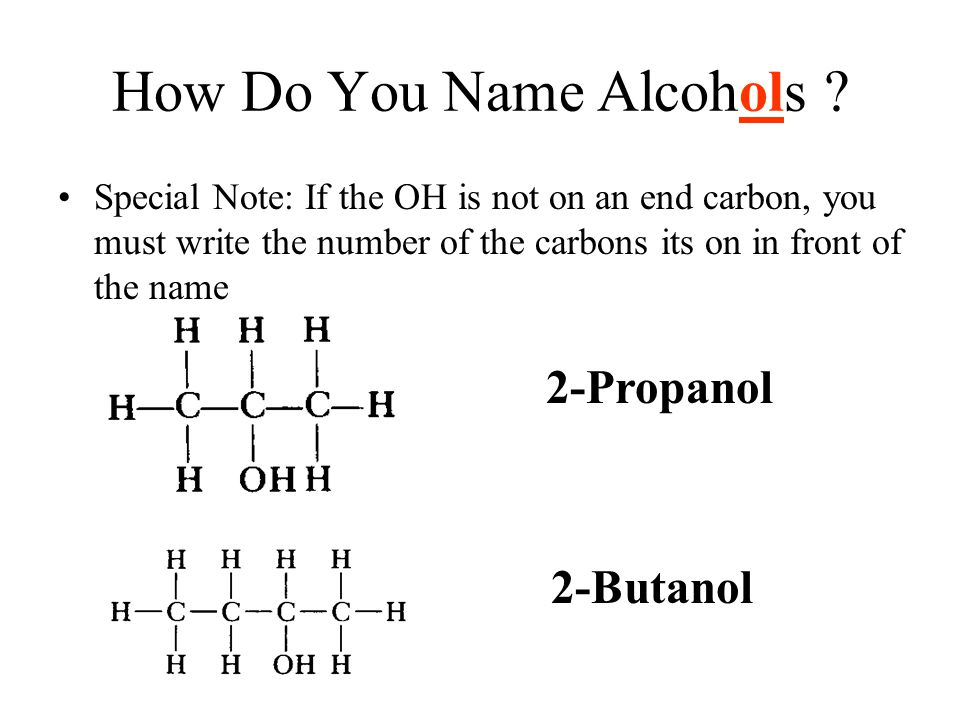 How Do You Name Alcohols ? Special Note: If the OH is not on an end carbon, you must write the number of the carbons its on in front of the name 2-Pro