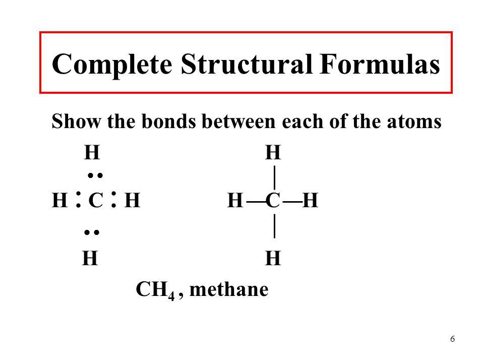 6 Complete Structural Formulas Show the bonds between each of the atoms H H  H  C  HH C H  H H CH 4, methane