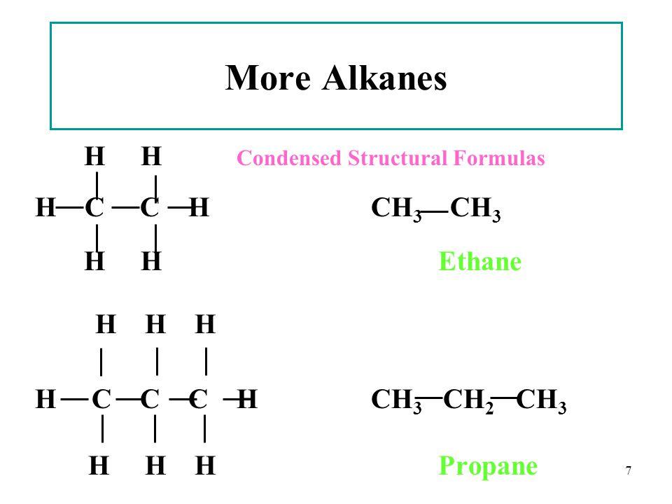 7 More Alkanes H H Condensed Structural Formulas H C C HCH 3 CH 3 H HEthane H H H H C C C HCH 3 CH 2 CH 3 H H H Propane