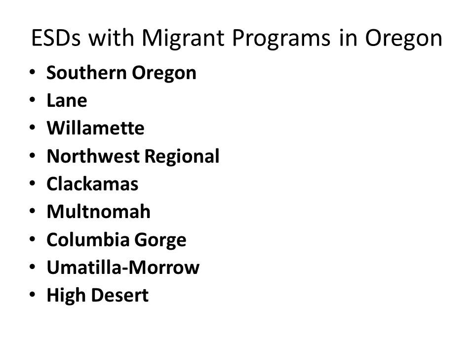 Some of the Benefits of the Migrant Program Automatically on Free and Reduced Lunch Program Accident Insurance Summer School Programs Don't have to pay for SAT and AP tests High School Summer Leadership Institute at OSU GED through HEP Program and College support through CAMP program.