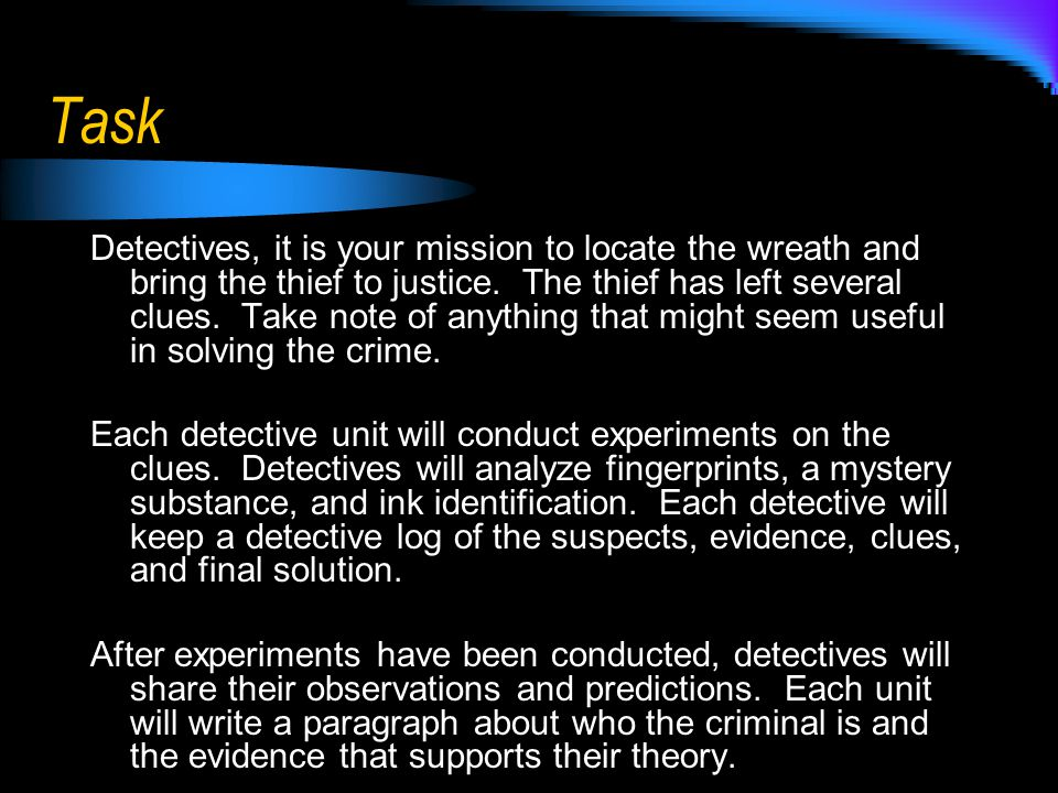 Task Detectives, it is your mission to locate the wreath and bring the thief to justice.