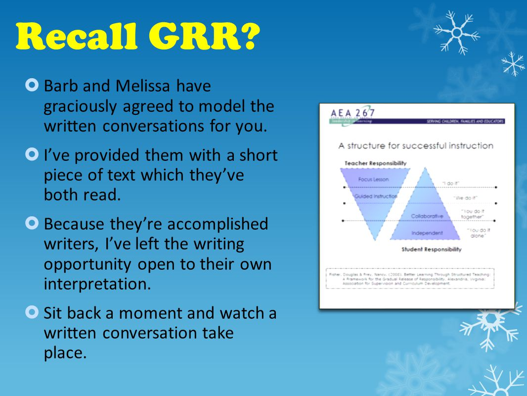 Recall GRR.  Barb and Melissa have graciously agreed to model the written conversations for you.