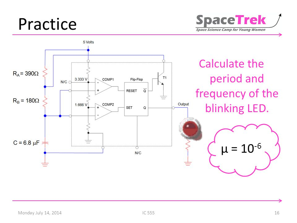 Practice Calculate the period and frequency of the blinking LED.