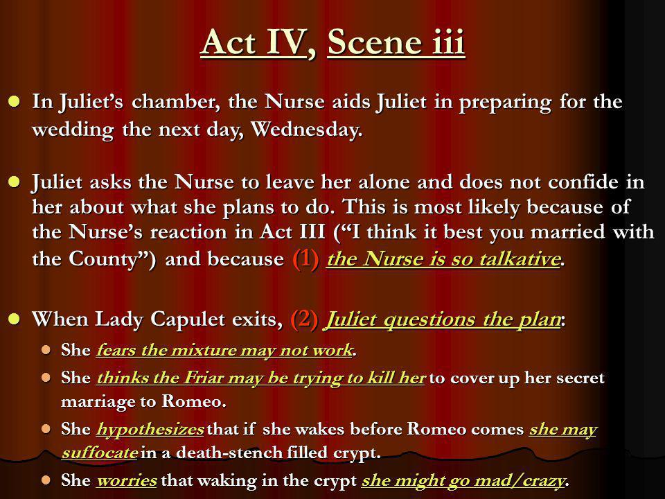 Act IV, Scene iii Juliet asks the Nurse to leave her alone and does not confide in her about what she plans to do. This is most likely because of the