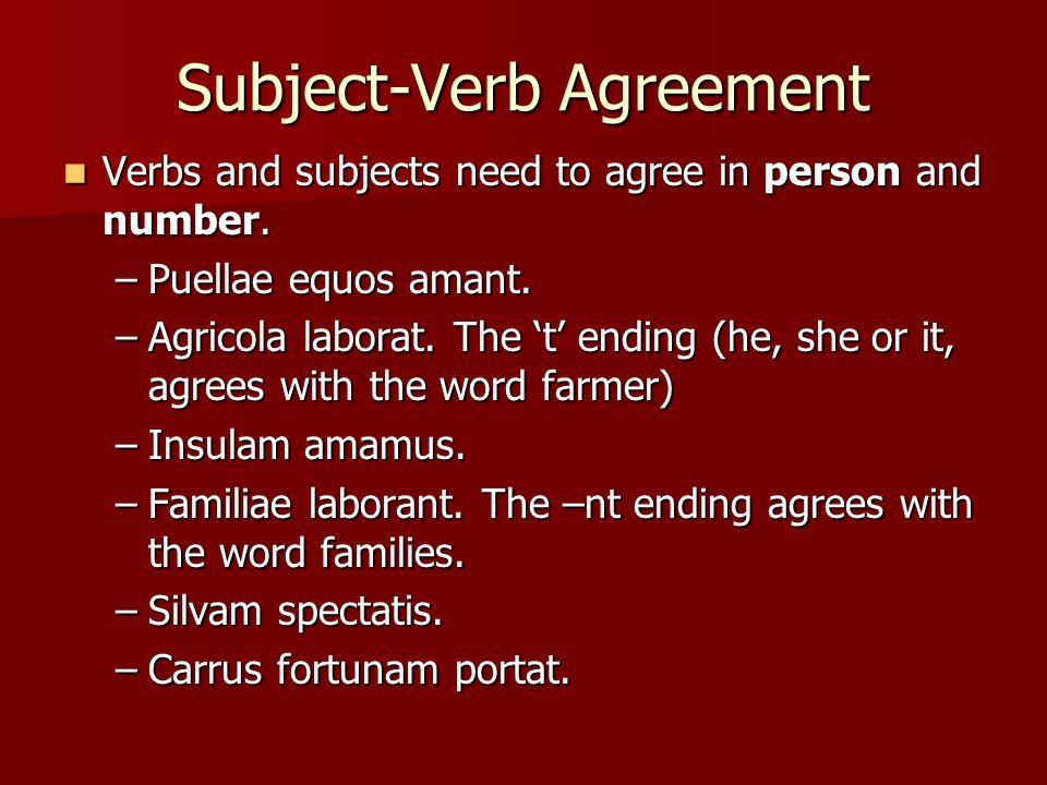 Subject-Verb Agreement Verbs and subjects need to agree in person and number.