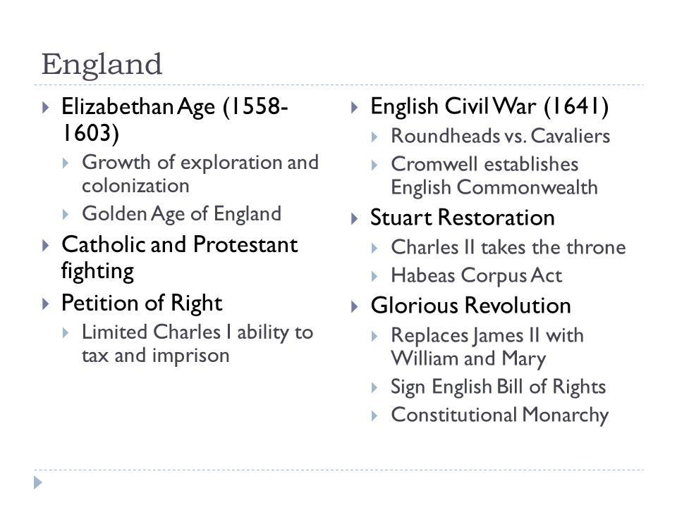England  Elizabethan Age (1558- 1603)  Growth of exploration and colonization  Golden Age of England  Catholic and Protestant fighting  Petition of Right  Limited Charles I ability to tax and imprison  English Civil War (1641)  Roundheads vs.