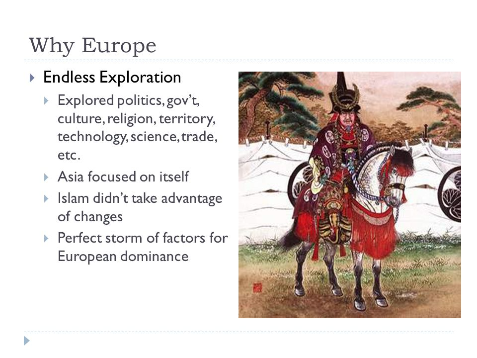 Why Europe  Endless Exploration  Explored politics, gov't, culture, religion, territory, technology, science, trade, etc.