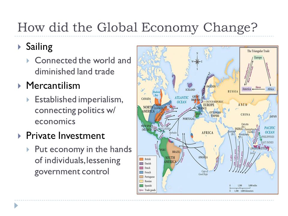 How did the Global Economy Change?  Sailing  Connected the world and diminished land trade  Mercantilism  Established imperialism, connecting poli