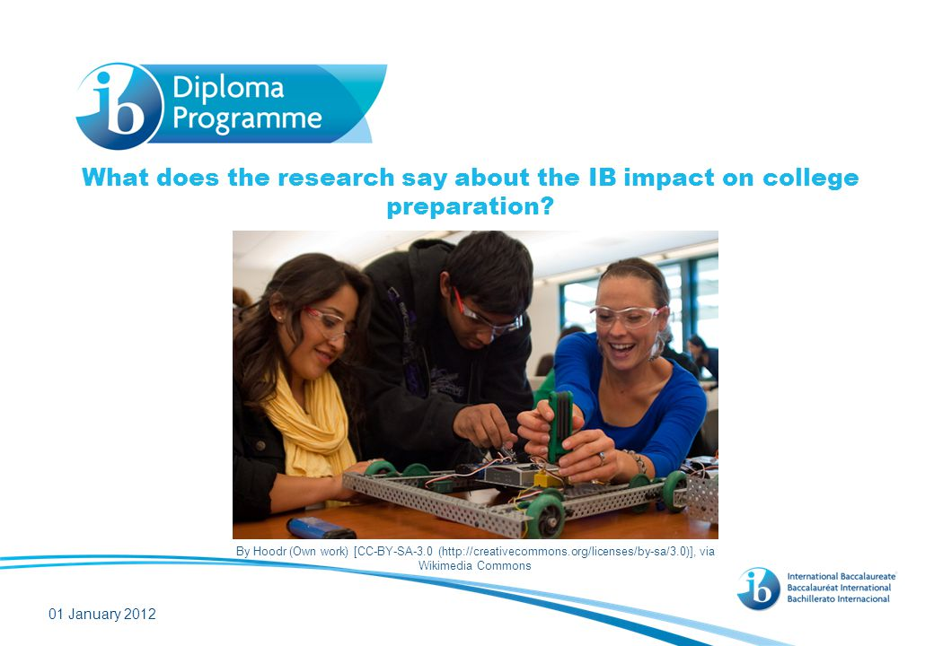 What does the research say about the IB impact on college preparation? 01 January 2012 By Hoodr (Own work) [CC-BY-SA-3.0 (http://creativecommons.org/l