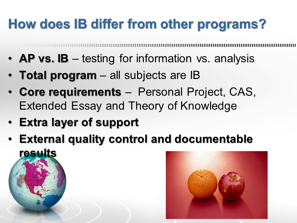 How does IB differ from other programs? AP vs. IBAP vs. IB – testing for information vs. analysis Total programTotal program – all subjects are IB Cor