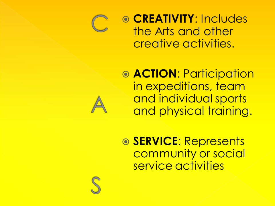  CREATIVITY : Includes the Arts and other creative activities.