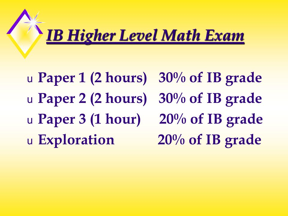 IB Higher Level Math Exam u Paper 1 (2 hours) 30% of IB grade u Paper 2 (2 hours) 30% of IB grade u Paper 3 (1 hour) 20% of IB grade u Exploration 20%