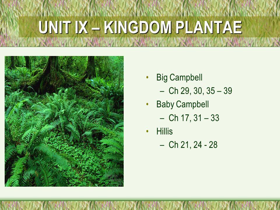UNIT IX – KINGDOM PLANTAE Big Campbell –Ch 29, 30, 35 – 39 Baby Campbell –Ch 17, 31 – 33 Hillis –Ch 21, 24 - 28