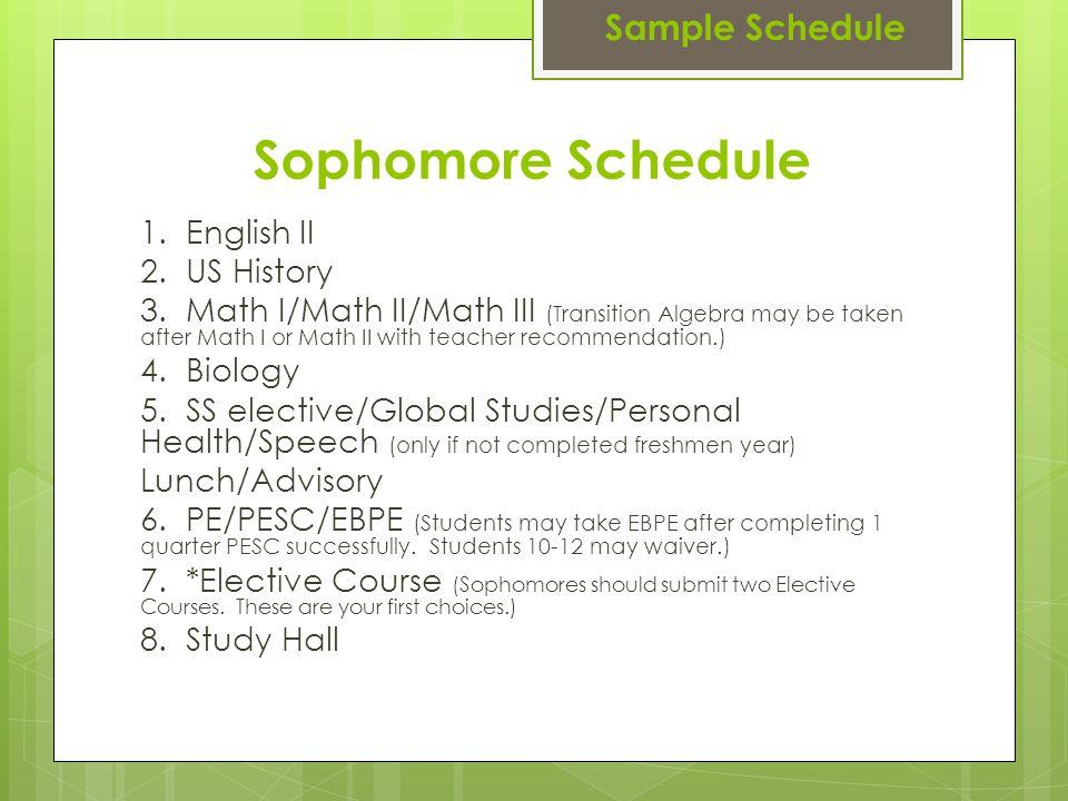 Sophomore Schedule 1. English II 2. US History 3.