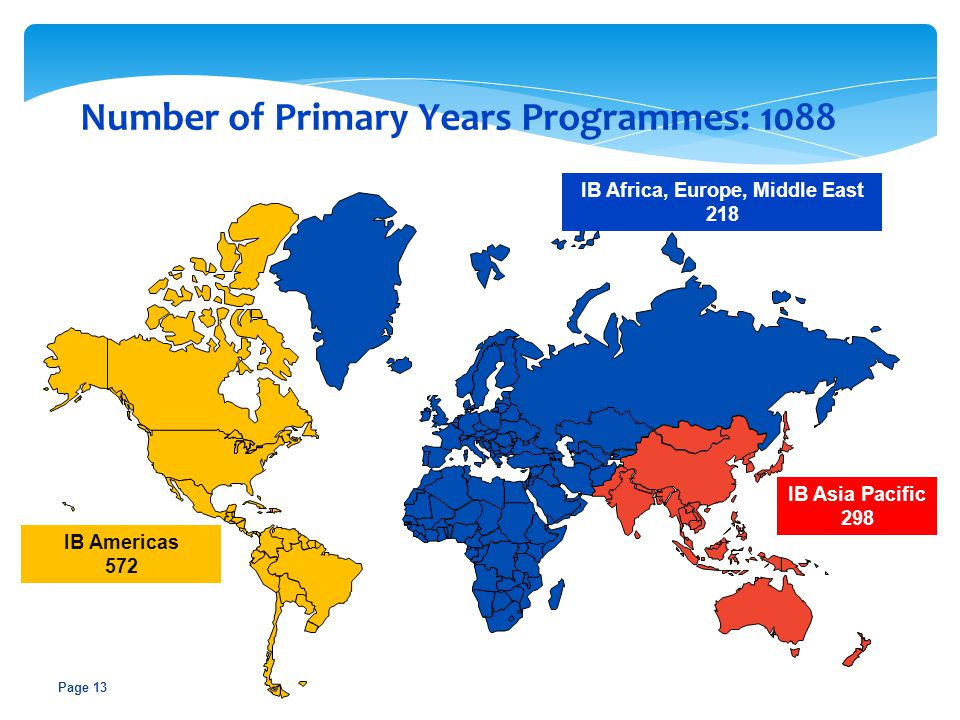 Page 13 IB Americas 572 IB Africa, Europe, Middle East 218 IB Asia Pacific 298 Number of Primary Years Programmes: 1088
