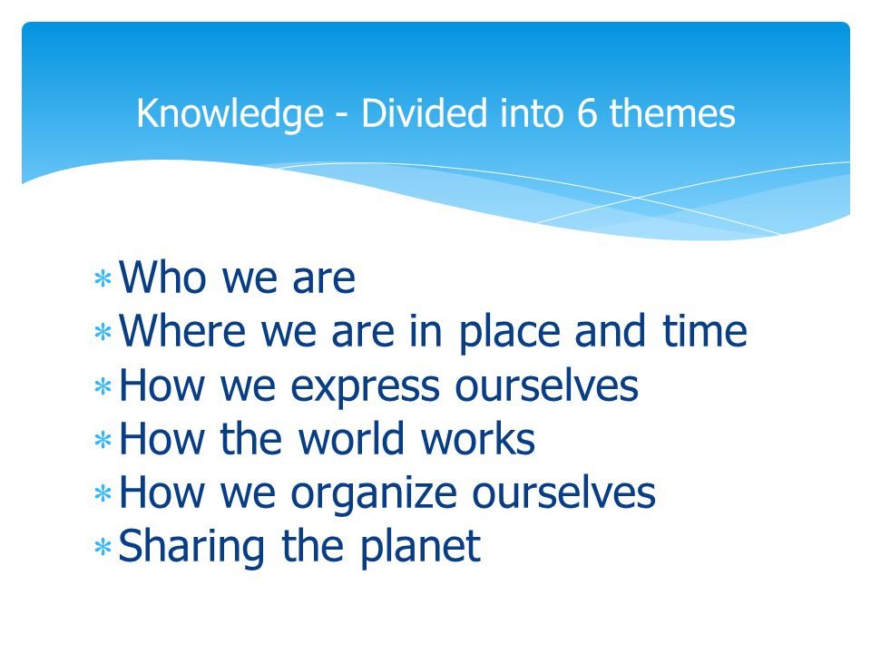  Who we are  Where we are in place and time  How we express ourselves  How the world works  How we organize ourselves  Sharing the planet Knowledge - Divided into 6 themes