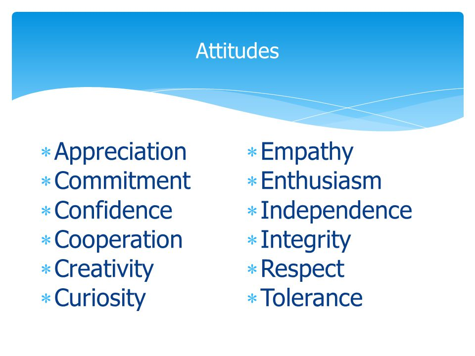Attitudes  Appreciation  Commitment  Confidence  Cooperation  Creativity  Curiosity  Empathy  Enthusiasm  Independence  Integrity  Respect  Tolerance