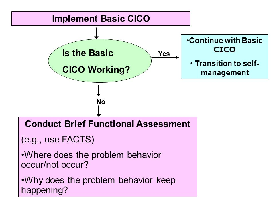 Implement Basic CICO Is Is the Basic CICO Working? Continue with Basic CICO Transition to self- management Yes No Conduct Brief Functional Assessment