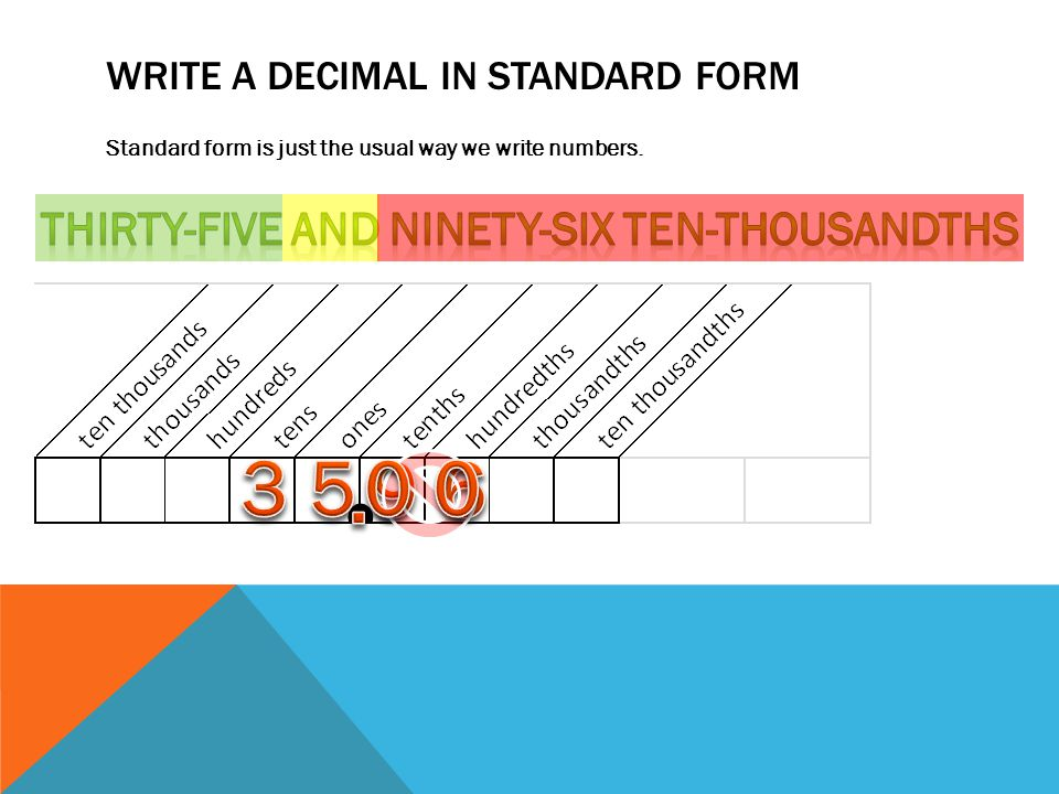 WRITE A DECIMAL IN STANDARD FORM Standard form is just the usual way we write numbers.