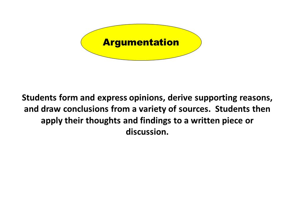 Argumentation Students form and express opinions, derive supporting reasons, and draw conclusions from a variety of sources.