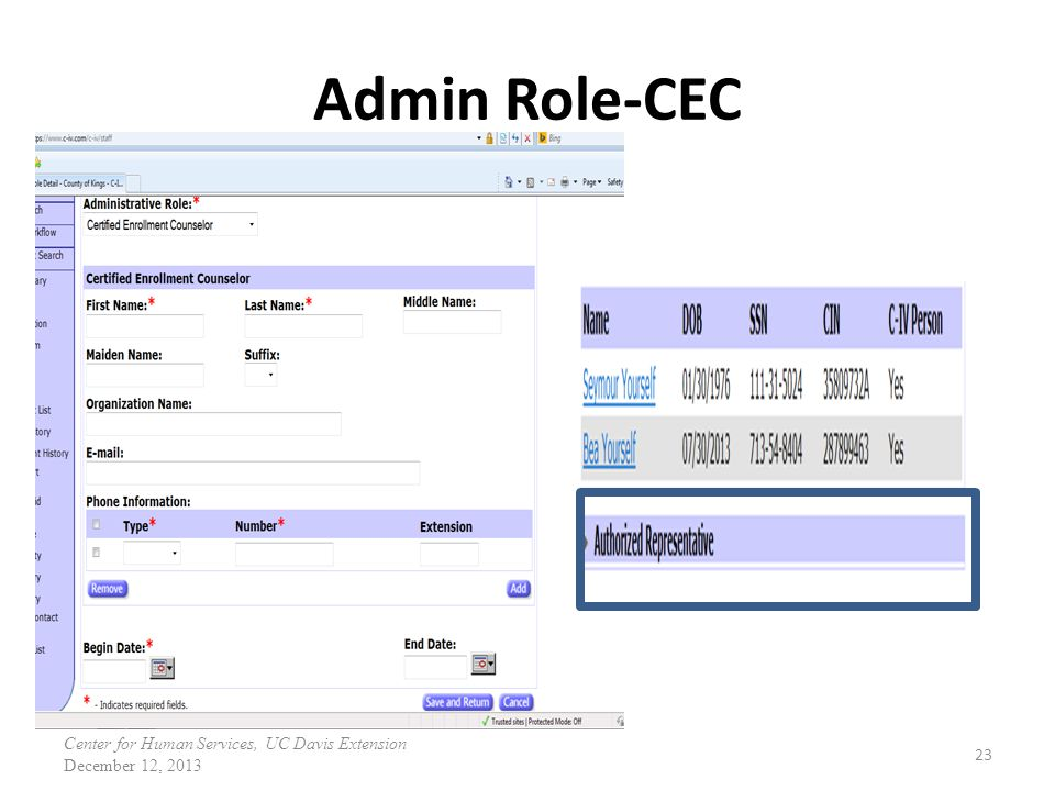 Admin Role-CEC 23 Center for Human Services, UC Davis Extension December 12, 2013