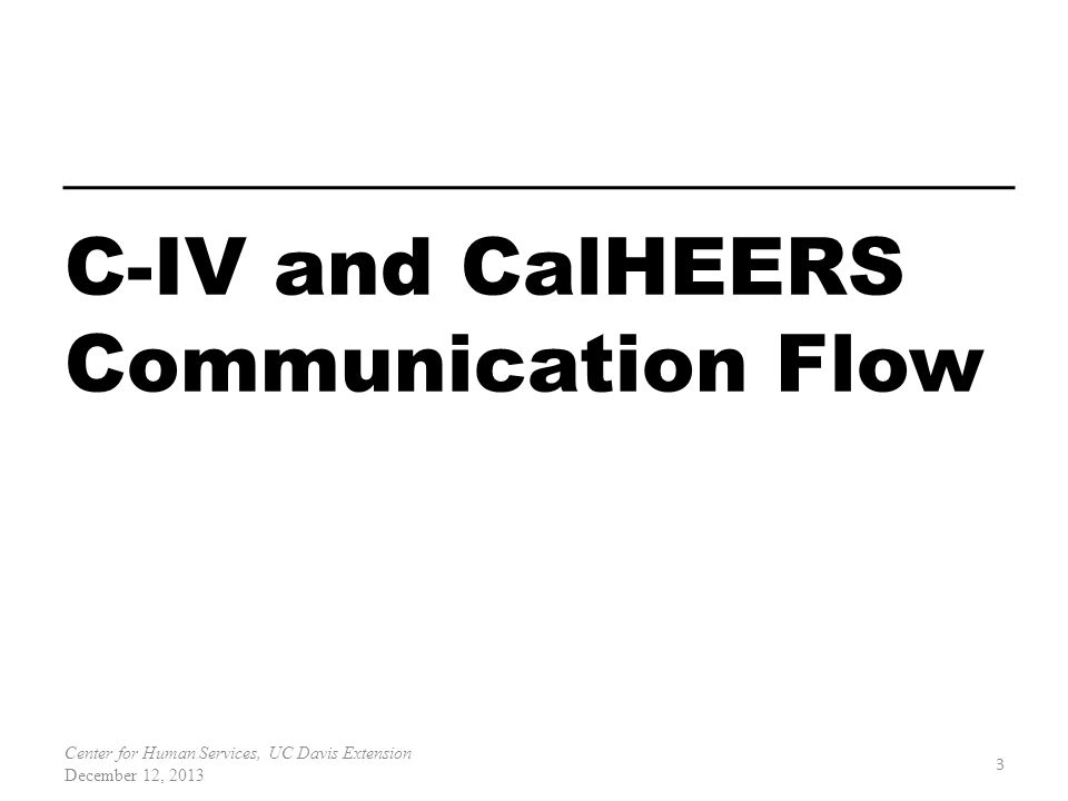 3 Center for Human Services, UC Davis Extension December 12, 2013 C-IV and CalHEERS Communication Flow