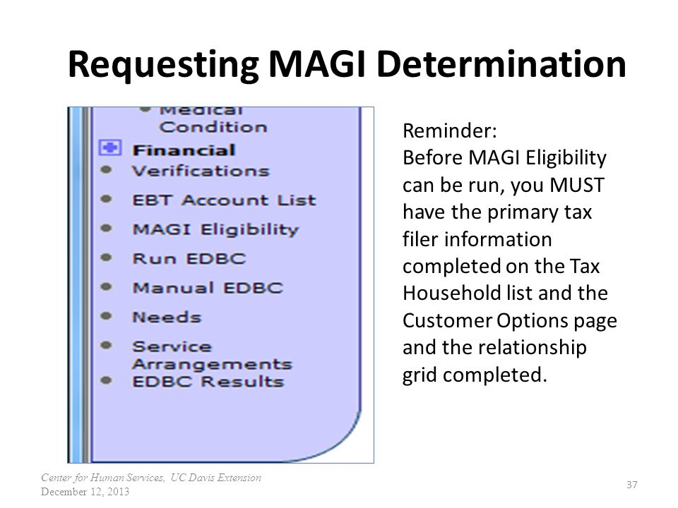 Requesting MAGI Determination 37 Reminder: Before MAGI Eligibility can be run, you MUST have the primary tax filer information completed on the Tax Household list and the Customer Options page and the relationship grid completed.