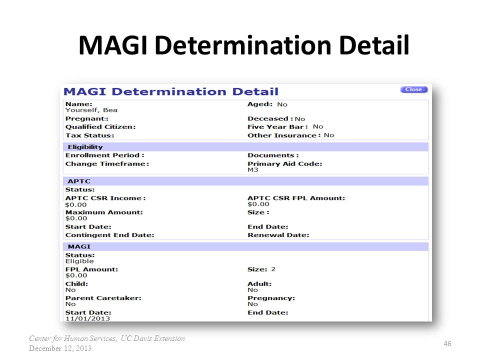 MAGI Determination Detail 46 Center for Human Services, UC Davis Extension December 12, 2013
