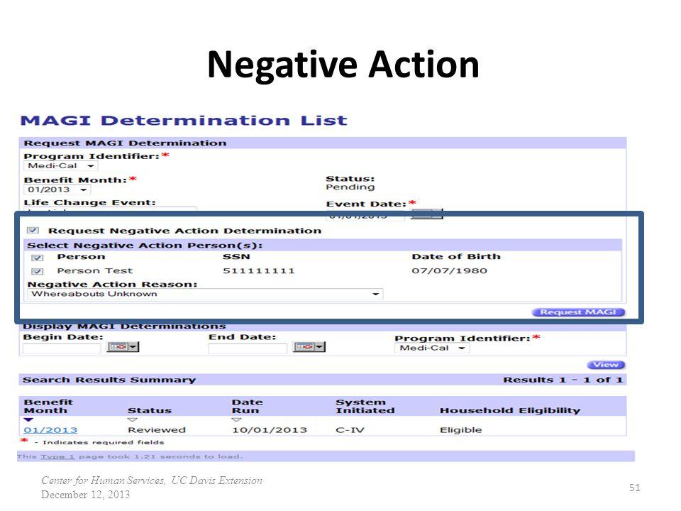 Negative Action 51 Center for Human Services, UC Davis Extension December 12, 2013